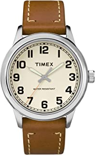 Timex Men's Cream Dial Leather Band Watch - TW2R22700