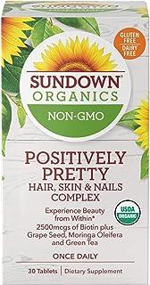 Sundown Organics Positively Pretty Hair Skin & Nails Vitamins, with Biotin & Zinc, Gluten Free, 100% Non-GMO, 30 Tablets