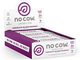 No Cow Protein Bar, Chocolate Glazed Doughnut, 22g Plant Based Protein, Keto Friendly, Low Carb, Low Sugar, Dairy Free, Gluten Free, Vegan, High Fiber, Non-GMO, 12Count