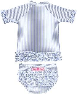 Little Girls Seersucker Rash Guard 2-Piece Short Sleeve Swimsuit Set with UPF 50+ Sun Protection