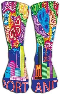 Outdoor Sports Men Women High Socks Stocking portland oregon outline silhouette city skyline mount hood colorful paisley pattern background Tile length 19.7