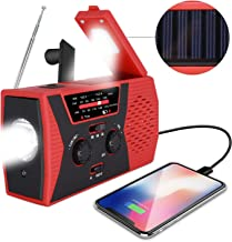 [2019 Upgraded Version] RegeMoudal Emergency Solar Hand Crank Radio, NOAA Weather Radio for Emergency with AM/FM, LED Flashlight, Reading Lamp, 2000mAh Power Bank and SOS Alarm