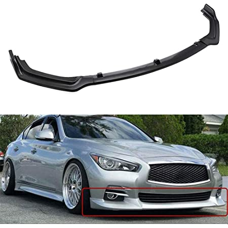 ECCPP 3pcs Front Bumper Lip Splitter fit for compatible with 2014-2018 for INFINITI Q50 Glossy Black Trim Protection Splitter Spoiler