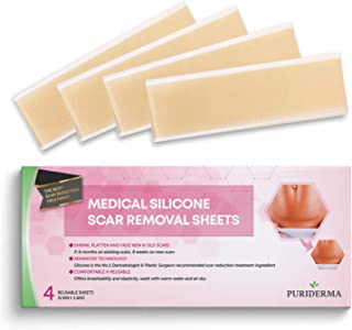 Puriderma Medical Silicone Scar Removal Extra Large Sheets [5.9''x1.57''] - Fast & Effective on Keloid, Surgery, Burn, Acne, C-Section Scars, 4 Reusable pcs