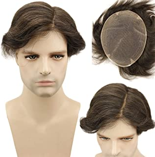 """Dreambeauty Full Swiss Lace Base Toupee for Men European Virgin Human Hair Replacement System for Men 10x8"""" Human Hairpieces Soft Thin Super Skin Men's Toupee (#4 Brown)"""