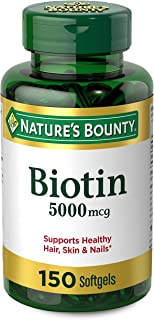 Biotin by Nature's Bounty, Vitamin Supplement, Supports Metabolism for Energy and Healthy Hair, Skin, and Nails, 5000 mcg,...