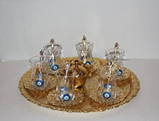 Traditional Turkish Tea Set for Six, Express Shipping, with Evil Eye Glasses, Colorful Turkish Tea Glasses, Special Design, Turkish Tea Set for Six, Handmade in Turkey