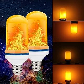 (2 Pack) Golspark LED Flame Effect Light Bulb, 4 Watt Standard E26 Base Flickering Fire Light, Halloween & Christmas Holiday Atmosphere Decorative Lamp, 4 Mode Type