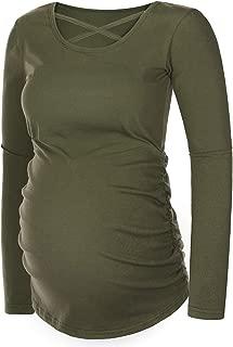 Women Maternity Long Sleeve Tunic Top Pregnancy Shirts Side Ruching Basic Mama Clothes