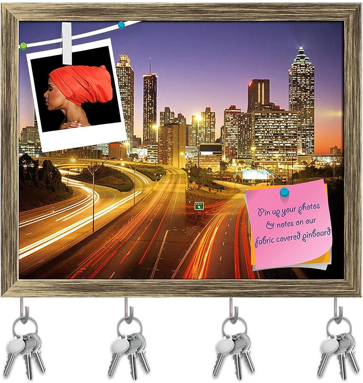 Artzfolio City Skline at Dusk, Altanta, Georgia, USA Key Holder Hooks   Notice Pin Board   Antique golden Frame 19.9 X 16Inch
