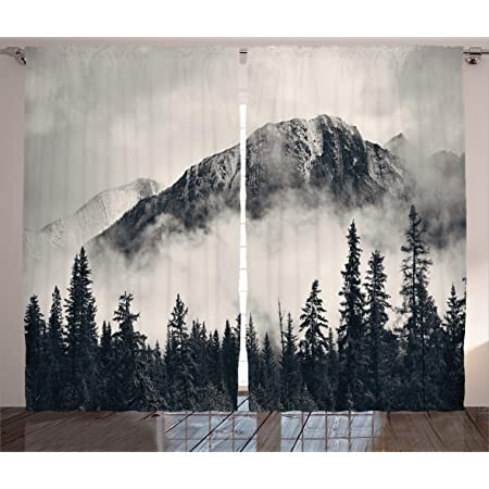 Ambesonne National Parks Curtains Canadian Smokey Mountain Cliff Outdoors Idyllic Scenery Photo Artwork Living Room Bedroom Window Drapes 2 Panel Set 108 X 84 White Black Home Kitchen