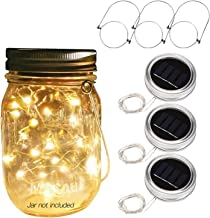 Betus Solar Powered 20 LEDs Mason Jar Lid String Lights with Hangers - Decorations for Garden Patio Path Christmas & Party...