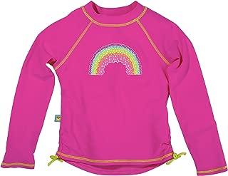 Sun Smarties Rainbow Pink Long Sleeve Rash Guard, Toddler Size 2T