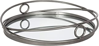 Kate and Laurel Delray Metal Mirrored Round Decorative Tray 17