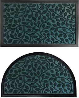Gorilla Grip Natural Rubber Doormats, 29x17 Rectangle and 35x23 Half Circle Heavy Duty Indoor Outdoor Low-Profile Mats in ...