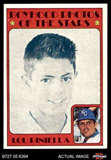1972 Topps # 491 Boyhood Photo Lou Piniella Kansas City Royals (Baseball Card) Dean's Cards 6 - EX/MT Royals