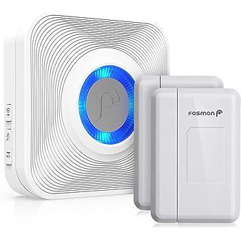 Fosmon WaveLink 51007HOM Wireless Door Open Chime (400 Feet, 58 Tunes, 5 Volume Levels, LED Indicators) - 2 Magnetic Door Entry Alert Security Contact Sensor, 1 Wireless Doorbell Plugin Receiver