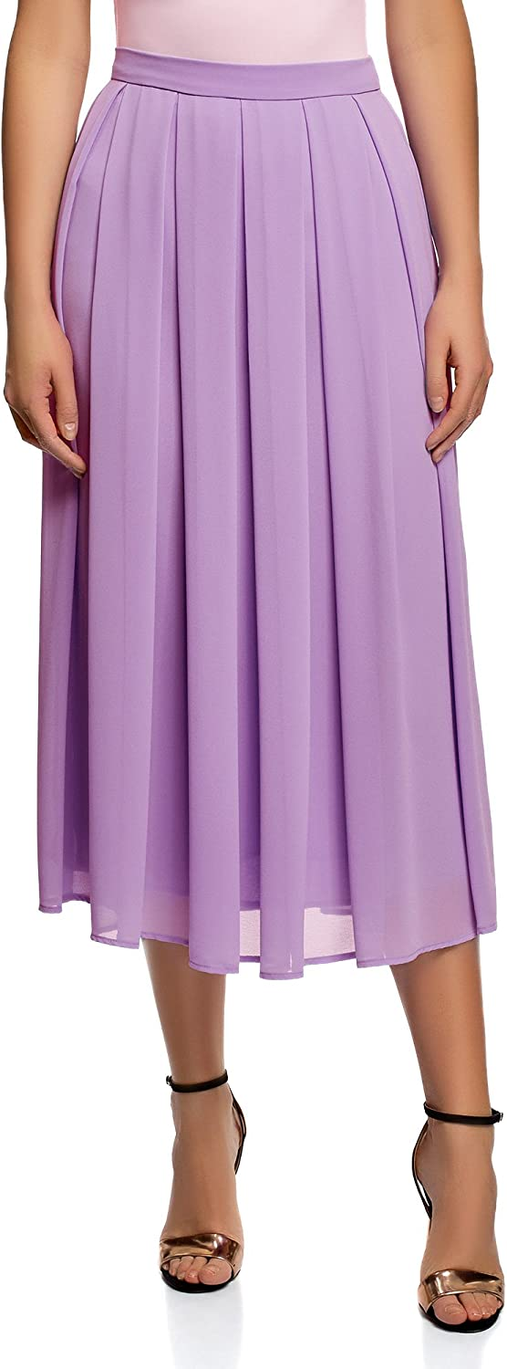 Oodji Collection Women's Pleated Skirt in Flowing Fabric