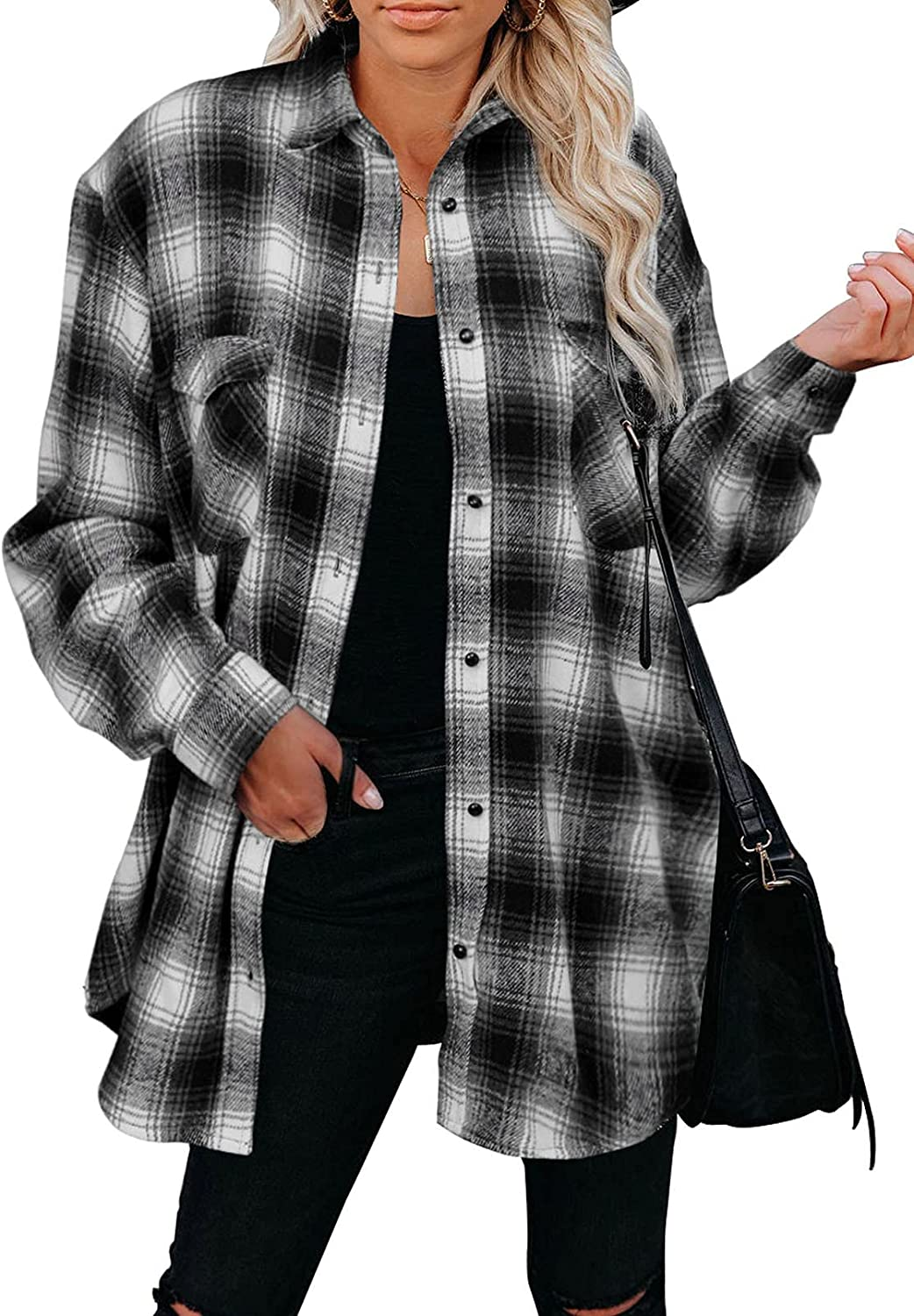 Rosfancy Women's Casual Plaid Button Down Shirts Soft Long Sleeve Blouses Tops