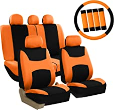 FH Group FB030ORANGE-COMBO Seat Cover Combo Set with Steering Wheel Cover and Seat Belt Pad (Airbag Compatible and Split Bench Orange)