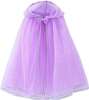 Toddler Girls Hooded Princess Sequin Tulle Cloaks Outwear Halloween Costume Dress