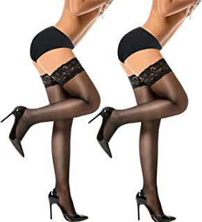 Thigh High Stockings Silicone Stay Up Tights Lace Top Semi Sheer Pantyhose Update Size