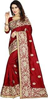 Indian Sarees for Women Designer Party Wear Traditional Maroon Sari.