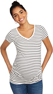Women's Maternity Short Sleeve V-Neck Side Ruched Tee...