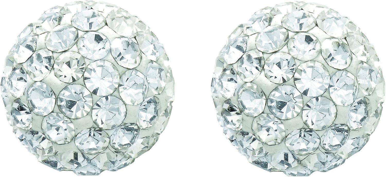 14K Yellow Gold 8.0mm Shiny Ball Earring, White Stone