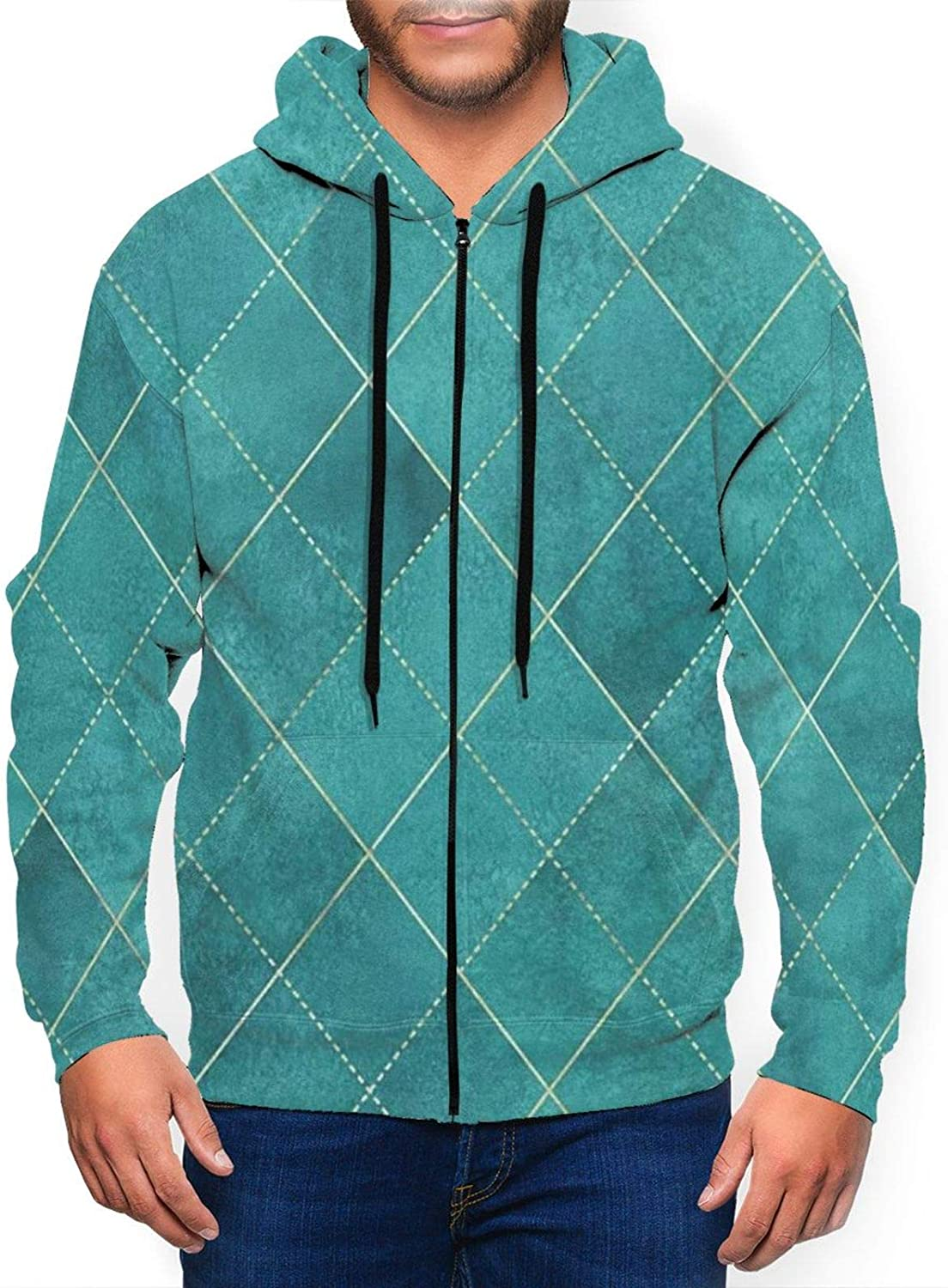Geometric Teal Turquoise Plaid Personalized Long Mens Hoodies Quality inspection Direct store Sl