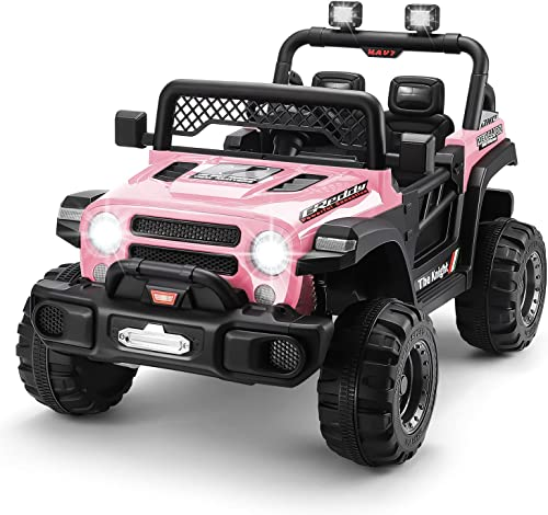 popular 12V Kids Ride On Truck, 4 Motors Battery Powered Electric Vehicle with Remote Control, Bluetooth/ USB Music Player, Spring discount Suspension online sale System, Storage Trunk, LED, 3 Speeds for Kids 3-6 Years(Pink) online