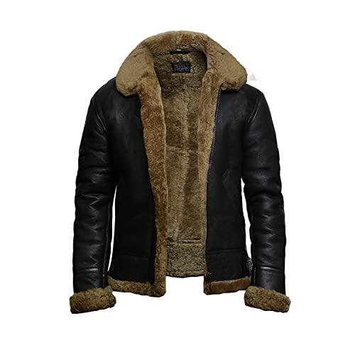 3acf01daff4 Brandslock Mens Genuine Shearling Sheepskin Leather Bomber Pilot Aviator B3  WWII Flying Cockpit Jacket Thick Wool