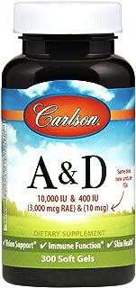 Carlson - A & D, 10000 IU & 400 IU, Vision Support, Immune Function & Skin Health, 300 Soft gels