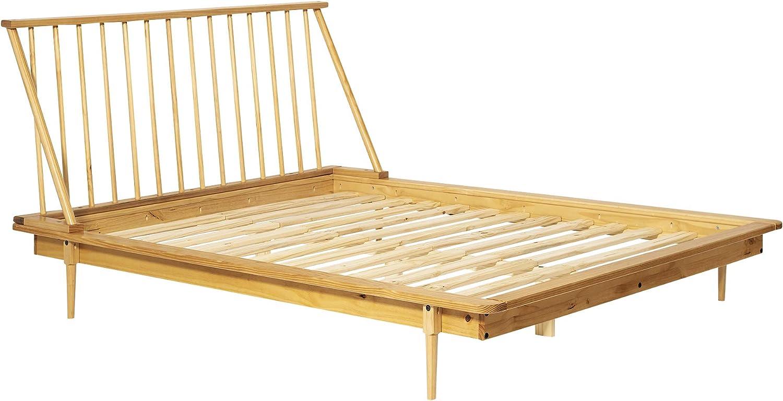 Single Caramel Walker Edison Mid Century Modern Solid Wood Spindle Headboard Footboard Platform Bed Frame Bedroom