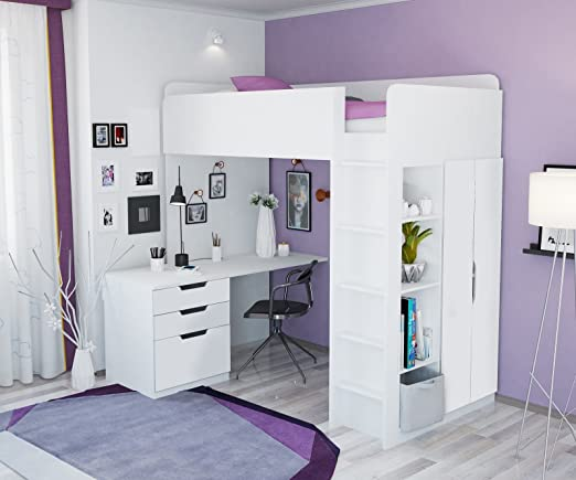 Polini Kids 1447.6 - Cama alta infantil con armario y escritorio