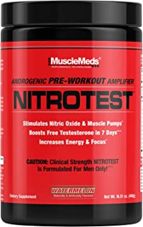 MuscleMeds Nitrotest Pre-Workout Supplement Drink, Boost Nitric Oxide, Testosterone, Watermelon, 30 Servings, 1.03 Pound, ...