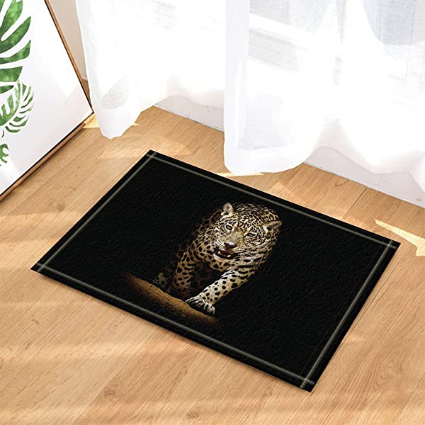 CdHBH Wild Animal Decor Forest Wildlife Leopard Walk From Black Backdrop Come Out Bath Rugs Non Slip Doormat Floor Entryways Indoor Front Mat Kids Mat 15 7x23 6in Bathroom Accessories