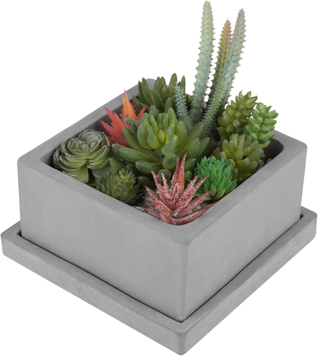 MyGift Selling and selling Square Over item handling Cement Succulent Planter Removable Pot with Saucer