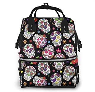 Colorful Vintage Sugar Skull Print Diaper Bag Backpack,Multi-Function Maternity Nappy Bags For Travel,Large Capacity,Water...