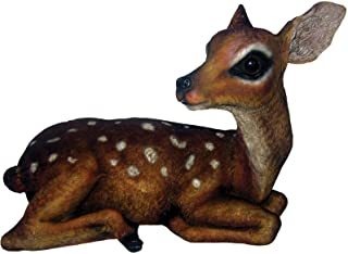 Deer Fawn M Brown/White Statue by Michael Carr Designs - Outdoor Deer Figurine for Gardens, patios and lawns (508004B)