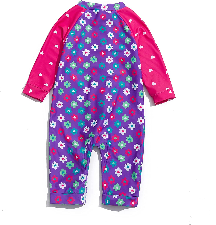 BabyGirlOnePieceSwimsuitFullZipUPF50+SunProtectionSunsuit