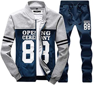 Mens Tracksuits Full Zip Running Jogging Athletic Sports Jacket and Pants Set