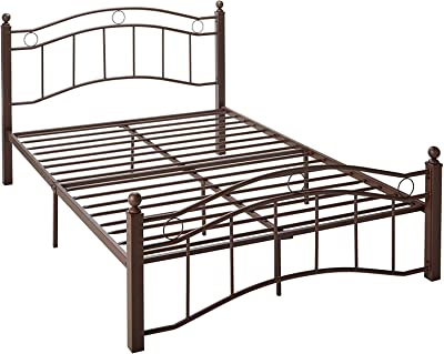 HENGBIRD Bronze Metal Bed Frame with Headboard and Footboard No Box Spring Required Full