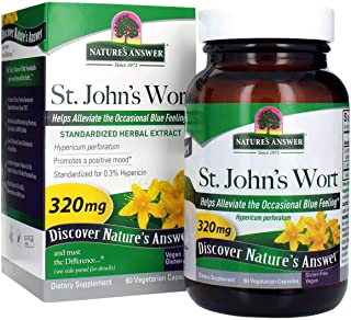 Nature's Answer St. Johns Wort Herb Vegetarian Capsules 60 Count | Positive Mood Amplifier | Stress Reliever | Anxiety Min...