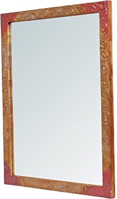 999STORE Wood Bathroom Mirror (24x18 inch, Multicolour)