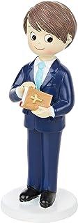Mopec Figura para Comunión Niño con Traje y Biblia en Mano, Poliresina, Azul Marino, 6.5x6.5x17 cm
