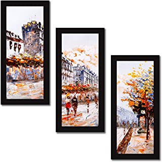 Paper Plane Design Set of 3 Wall Painting with Frames Abstract Theme Painting Wall Art Hanging