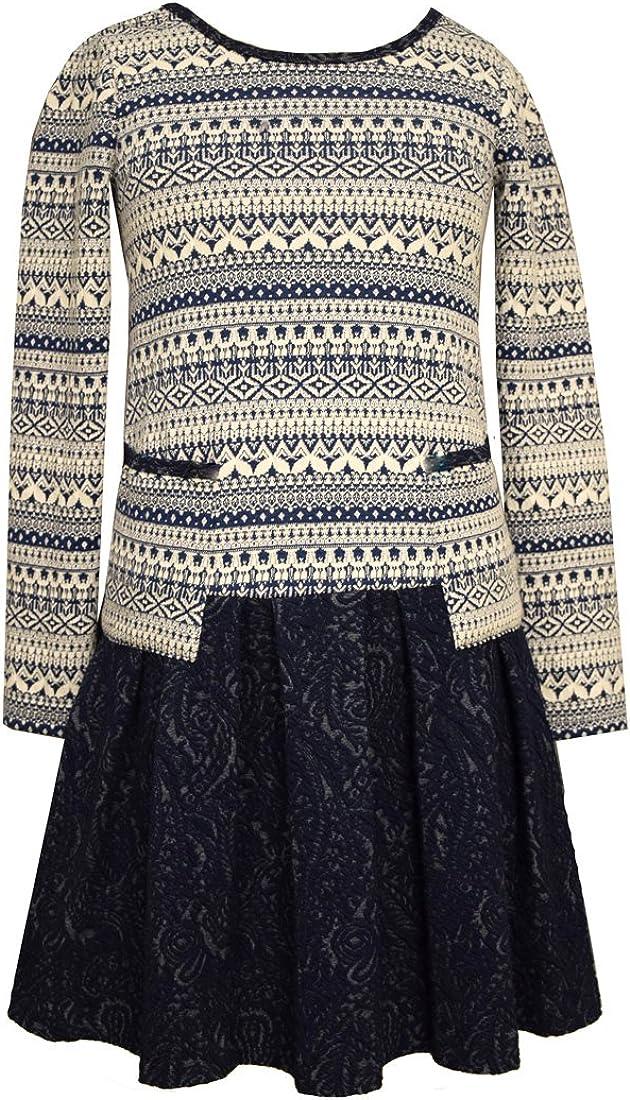 Bonnie Jean Big Girls 7-16 Holiday Fair Isle Texture Pleated Skirt Pocket Dress