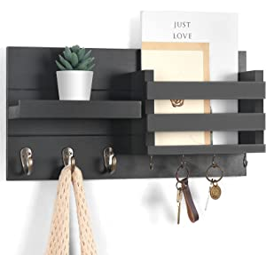 """Lwenki Mail Organizer for Wall Mount – Black Key Holder with Shelf Includes Letter Holder and Hooks for Coats, Dog Leashes – Rustic Wood with Flush Mounting Hardware (16.5"""" x 8.7"""" x 3.5"""")"""