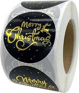 Woohooens Favores navideños Pegatinas Kraft Rollo para Fiestas Tema de Navidad Insignia Sello Regalo Etiqueta de Papel Eti...
